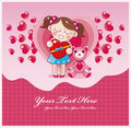 Cartoon love card Royalty Free Stock Photos