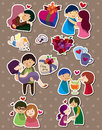Cartoon love stickers Royalty Free Stock Image