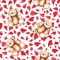Cartoon lovely Teddy Bear heart Saint Valentine`s day seamless pattern Royalty Free Stock Photo