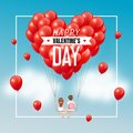 Cartoon lover couple on swing with group of red heart balloons in blue sky and text, Happy Valentine's Day, vector illustration