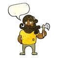 Cartoon lumberjack with axe with speech bubble Royalty Free Stock Image