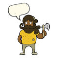 Cartoon lumberjack with axe with speech bubble Stock Photo