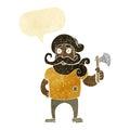 Cartoon lumberjack with axe with speech bubble Royalty Free Stock Photos