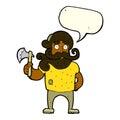 Cartoon lumberjack with axe with speech bubble Royalty Free Stock Photography