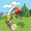 Cartoon lumberjack chopping a huge log Royalty Free Stock Photos