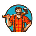 Cartoon lumberjack holding axe. Vector illustration