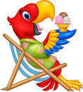 Cartoon macaw sitting on beach chair and eating an ice cream