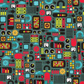 Cartoon machines seamless background vector pattern with equipment Royalty Free Stock Image