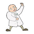 Cartoon mad scientist hand drawn illustration in retro style vector available Stock Image