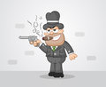 Cartoon mafia boss aiming gun a and smoking cigar Royalty Free Stock Photo