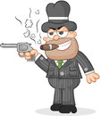 Cartoon mafia boss aiming gun a and smoking cigar Stock Photos