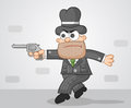 Cartoon mafia boss tiptoeing aiming a gun Stock Images