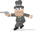 Cartoon mafia boss tiptoeing aiming a gun Stock Photo