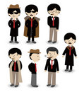 Cartoon mafia icon set Royalty Free Stock Photo