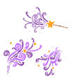 Cartoon magic wand casting spells Stock Photos