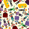 Cartoon magician seamless pattern Stock Photography