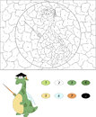 Cartoon magister dragon with a pointer color by number educational game for kids illustration for schoolchild and preschool Stock Image