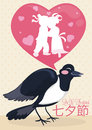 Cartoon Magpie Singing the Lovers Story in Qixi Festival, Vector Illustration Royalty Free Stock Photo