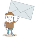 Cartoon mail man holding big envelope vector illustration of a monochrome character friendly mailman Stock Photo