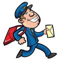 Cartoon mailman delivering mail Royalty Free Stock Photo