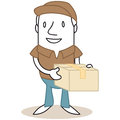 Cartoon mailman holding parcel vector illustration of a monochrome character in his hands Royalty Free Stock Photography