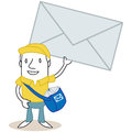 Cartoon mailman holding up huge envelope vector illustration of a monochrome character with bag full of mail Royalty Free Stock Images