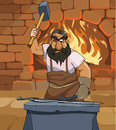 Cartoon male blacksmith forges a sword in the smithy Royalty Free Stock Photo
