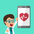 Cartoon a male doctor and smartphone