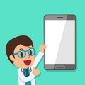Cartoon male doctor and smartphone
