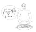 Cartoon male dressed in grilling attire cooking meat barbecue icon set Royalty Free Stock Photo