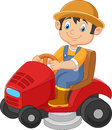 Cartoon male gardener riding mowing with ride-on lawn mower