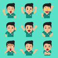Cartoon male nurse faces showing different emotions
