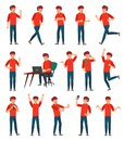 Cartoon male teenager character. Teenage boy in different poses and actions vector illustration set Royalty Free Stock Photo