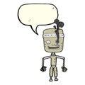 cartoon malfunctioning robot with speech bubble Royalty Free Stock Photo