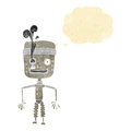 cartoon malfunctioning robot with thought bubble Royalty Free Stock Photo