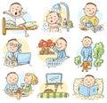 Cartoon man daily activities Royalty Free Stock Photo