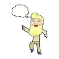 cartoon man with beard laughing and pointing with thought bubble Royalty Free Stock Photo