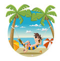 Cartoon man on beautiful tropical beach with blue ocean umbrellas and palm coconut trees Stock Photo