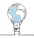 Cartoon man carrying the Earth