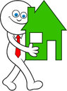 Cartoon man carrying house smiling and a Royalty Free Stock Photos