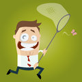 Cartoon man is catching a butterfly illustration of Royalty Free Stock Photography