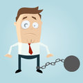 Cartoon man in chains illustration of a Royalty Free Stock Photography