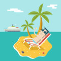 Cartoon Man Character Summer Travel Vacation Sea Island Mobile Ocean Sky Background Modern Flat Design Vector Royalty Free Stock Photo