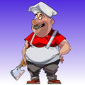 Cartoon man in chefs clothes with the axe