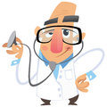 A cartoon man doctor smiling while examining using his stethoscope Stock Photography