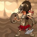 Cartoon man dressed as a medieval warrior with an axe and a shield