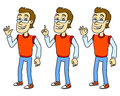 Cartoon man friendly pointing the finger vector illustration Stock Photography