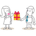 Cartoon man giving gift box to flattered woman vector illustration of monochrome characters Royalty Free Stock Photography
