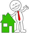Cartoon man happy with house a and laughing Royalty Free Stock Images