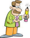 Cartoon man holding a pencil illustration of Stock Images
